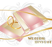 Wedding invitation with gold ring illustration by schtroumpf2510