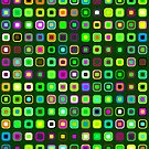 Retro Squares - Green [iPhone case] by Damienne Bingham
