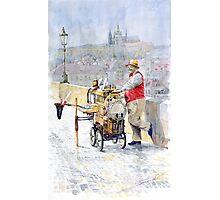 Prague Charles Bridge Organ Grinder-Seller Happiness  Photographic Print