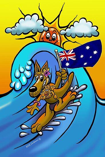 Aussie surfing kangaroo mum. by NHR CARTOONS .