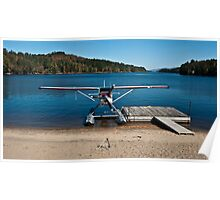 Red and White Plane on a Beach Poster