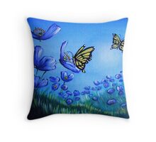 Blue Poppies in the Meadow Throw Pillow