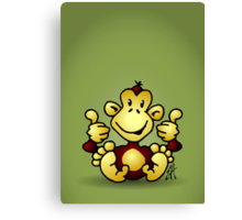 Manic Monkey with 4 thumbs up Canvas Print