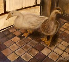 Backyard Geese - Oil Painting by Masaad Amoodi
