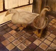 Backyard Geese - Oil Painting by Masaad Amoodi