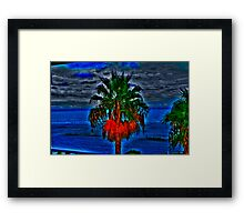 Blue Palm Tree Framed Print