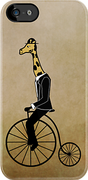 Penny-farthing Giraffe (Vintage Background) by wilynsical