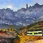 The Cremallera de Montserrat, Spain (digitally painted version) by buttonpresser