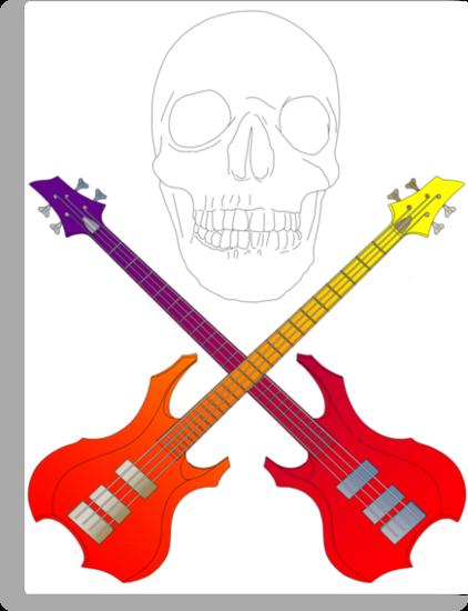 guitar cross bones  by IanByfordArt