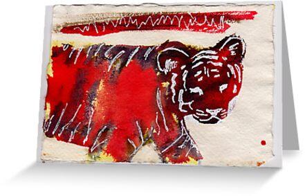 Tiger, 2007 - ink on khadi by phoebetodd