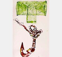 Green Net & Wooden Hook, 2009 - ink on paper by Janette Lucas