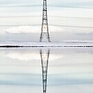 Winter Pylon Reflections HDR Hi Key by Glen Allen