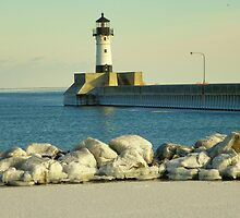 Open waters JANUARY 1909 DULUTH lighthouse by kodakcameragirl