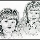 The Blevin&#x27;s Girls Portrait Drawing by Linda Costello Hinchey