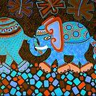 'Elephant Conga Line' - Digitally Altered Colour Scheme by Lisa Frances Judd~QuirkyHappyArt