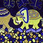 'Elephant Conga Line' - Digitally Altered Colour Scheme by Lisa Frances Judd~QuirkyHappyArt