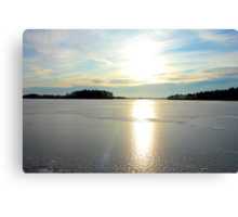 Herrestadsjön in winter season Canvas Print