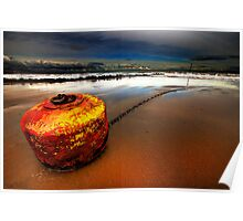 stranded stormy ornage buoy Poster