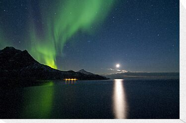 Aurora & descending moon by Frank Olsen