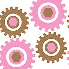 Retro Cogs Pink & Brown  by Anthony  Poynton