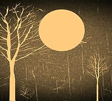 Snow flurry on a moonlit night - vintage by Nhan Ngo