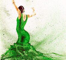 Bailaora de flamenco - Verde by TCottee