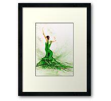 Bailaora de flamenco - Verde Framed Print
