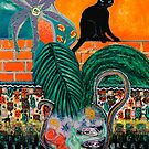 Walled Garden, Black Cat and Setting Sun by ltruskett