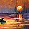 SUNSET FISHING - LEONID AFREMOV by Leonid  Afremov