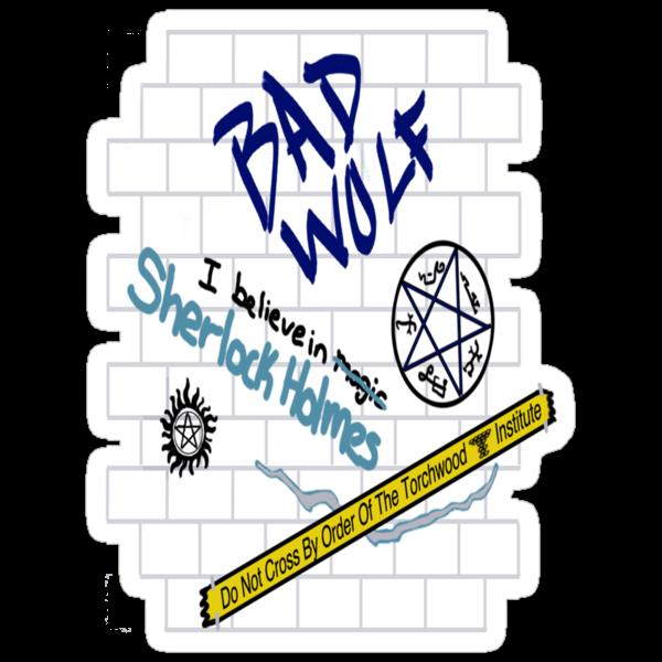 SuperWhoLock Graffiti Wall by KidsWithKrayons