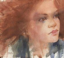 a face study in watercolour by djones