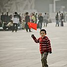Young child on tian&#x27;anmen place by Denis Charbonnier