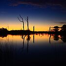 Sunset at Farm Dam at small Township of Forest  by phillip wise