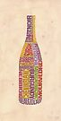 Burgundy Wine Word Bottle by mitchfrey