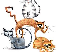 Kazart Cat Stack Card & Prints by Karen Sagovac