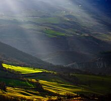 Shafts of Light, Lucanian Apennines, Basilicata, Italy by Andrew Jones