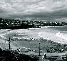 Bronte Beach Black and White by Andrew  MCKENZIE
