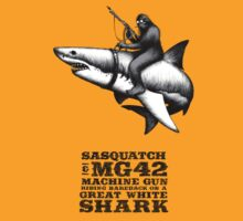 SASQUATCH, MG42 MACHINE GUN, AND A GREAT WHITE SHARK by CatLauncher
