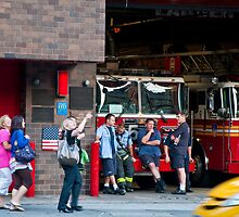 Firehouse scene in the theatre district by Michael Brewer