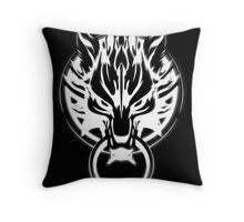 Cloud Strife's Wolf Emblem (White) Throw Pillow