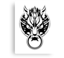 Cloud Strife's Wolf Emblem (Black) Canvas Print