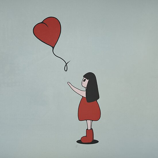 Girl with a Heart Shaped Balloon by perdita00