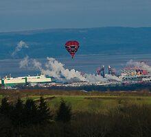 Balloon over Smoke in industrial rural scene by Crispel