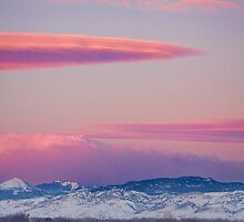 Colorado Winter Moon and Sunrise by Bo Insogna