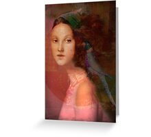 Girl with parrot Greeting Card
