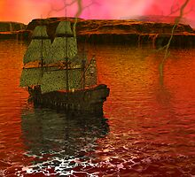 Flying Dutchman Pursuit in Bermuda Triangle panel 3 by Sazzart
