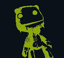 Little Big Planet Sackboy Green on Black iPhone Case by TalkThatTalk