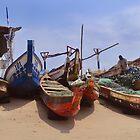 Fishing boats on James town beach by Shamila Chady