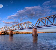 Moon River - Railway Bridge at Murray Bridge, South Australia by Mark Richards