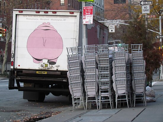 chairs acumulated by a rhino's buttoks near 21st street  by Olsen